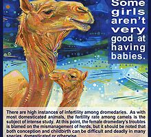 It is easier for a camel to pass through the eye of a needle than for a fertile woman to understand infertility (Dromedary) by Gwenn Seemel