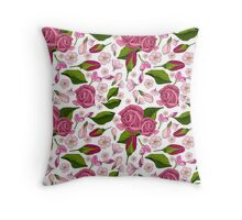 Pattern with  realistic  rose Throw Pillow