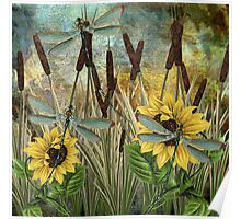 DRAGONFLIES AND SUNFLOWERS Poster