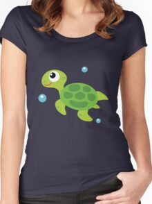 Cartoon Turtle  Women's Fitted Scoop T-Shirt