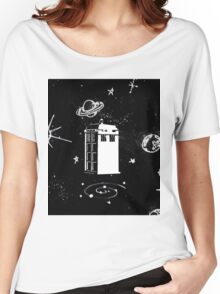 black and white tardis Women's Relaxed Fit T-Shirt