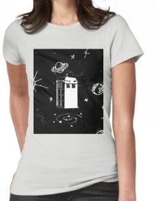 black and white tardis Womens Fitted T-Shirt