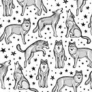 Wolves and Stars on White by micklyn