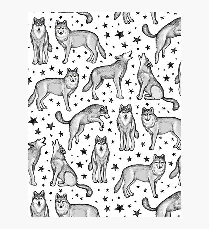 Wolves and Stars on White Photographic Print