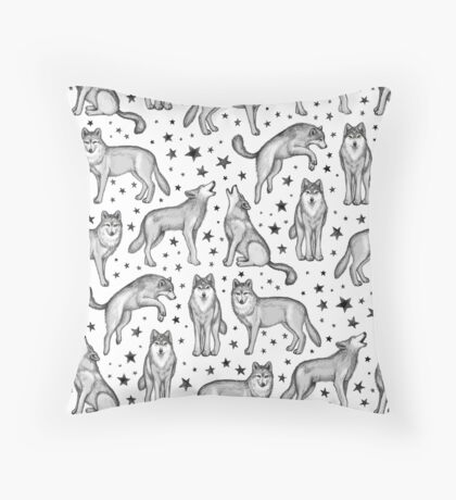 Wolves and Stars on White Throw Pillow