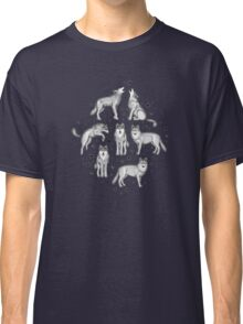 Wolves and Stars on White Classic T-Shirt