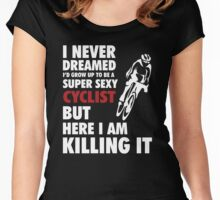 Super sexy Cyclist girl Women's Fitted Scoop T-Shirt