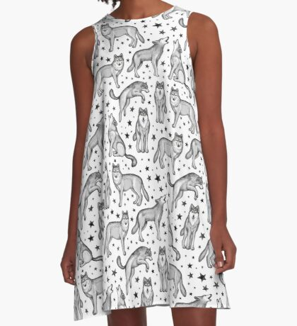 Wolves and Stars on White A-Line Dress