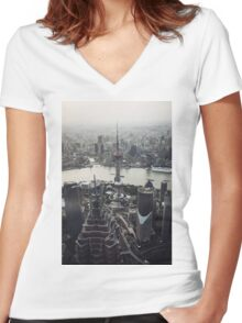 Shanghai Skyscrapers Women's Fitted V-Neck T-Shirt