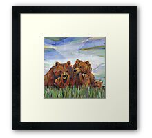 Grizzly bears Framed Print
