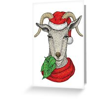 Winter holiday goat Greeting Card