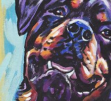 Rottweiler Dog Bright colorful pop dog art by bentnotbroken11