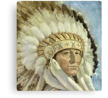 The Chief  Retro Vintage Native American Man Cool Art Design Canvas Print