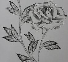 Simple ink rose with line work by kkirstind