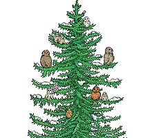 Christmas Fir Tree with Owls by Eugenia Hauss