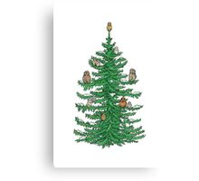 Christmas Fir Tree with Owls Canvas Print