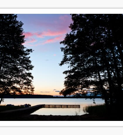 Sunset over the lake Sticker