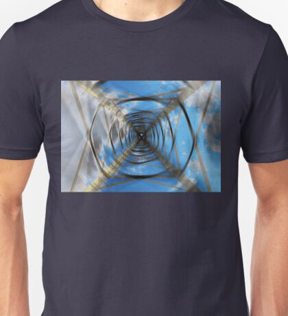 Abstract electricity pylon from below with blurry and motion effect Unisex T-Shirt