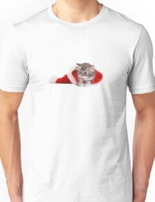 Cat in the Christmas hat Unisex T-Shirt