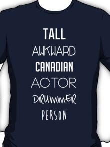 Navy Tall Awkward Canadian Actor Drummer Person T-Shirt