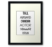 Navy Tall Awkward Canadian Actor Drummer Person Framed Print