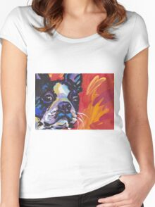 Boston Terrier Bright colorful pop dog art Women's Fitted Scoop T-Shirt