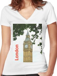 Big Ben Tower Women's Fitted V-Neck T-Shirt