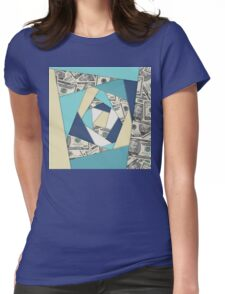 Colorful Currency Collage Womens Fitted T-Shirt
