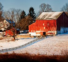Country House and Barn in Winter by KellyHeaton