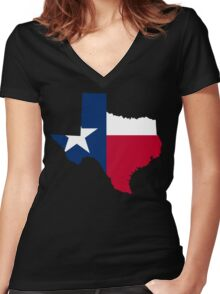 Texas | Flag State | SteezeFactory.com Women's Fitted V-Neck T-Shirt