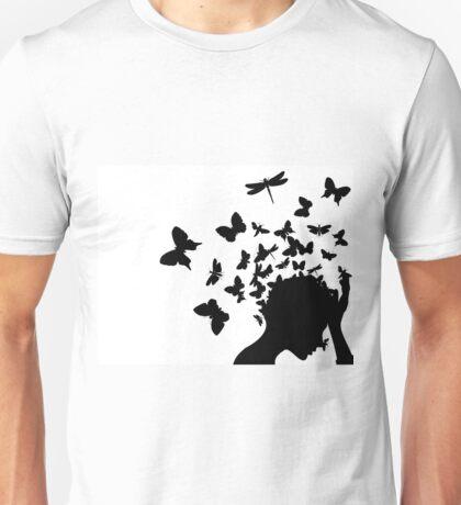 Butterflies from a head Unisex T-Shirt