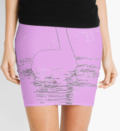 white swan swimming  Mini Skirt
