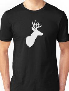 Stag Deer Head with Antlers Black and White Unisex T-Shirt