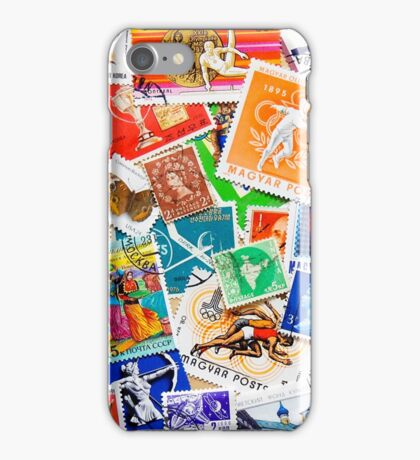 Around the World in 80 stamps iPhone Case/Skin