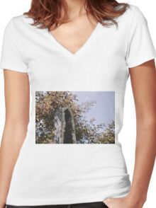 Hiding from the sun Women's Fitted V-Neck T-Shirt