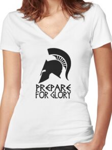 Sparta Prepare for Glory Women's Fitted V-Neck T-Shirt