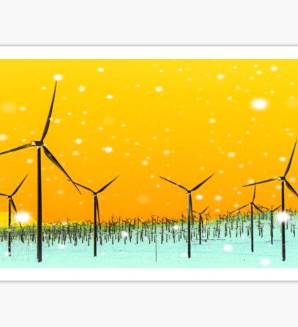 wind turbine at the desert with snow in winter Sticker
