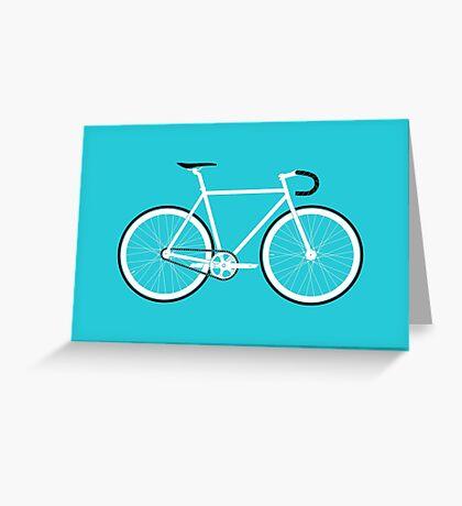 Turquoise Fixed Gear Road Bike Greeting Card