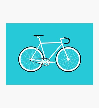 Turquoise Fixed Gear Road Bike Photographic Print