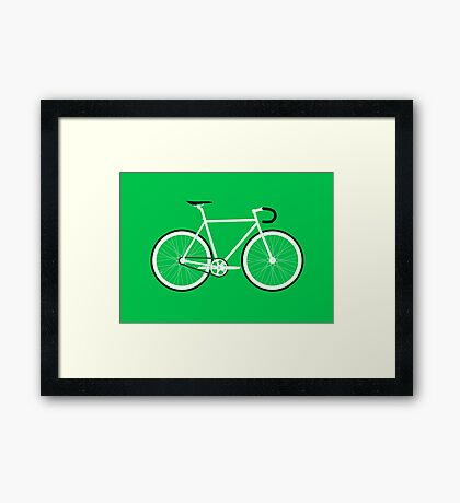 Green Fixed Gear Road Bike Framed Print