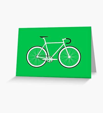 Green Fixed Gear Road Bike Greeting Card