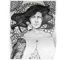 Woman and Owl Tote Bag Poster
