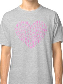 Pink Yoga Poses Heart Classic T-Shirt