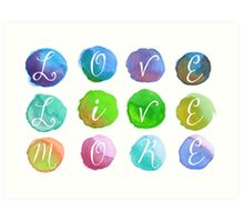 Hand-Painted Watercolor Circles Colorful Rainbow Art Print