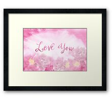 Love You Dark Pink Roses Watercolor Background Framed Print