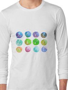 Hand-Painted Watercolor Circles Colorful Rainbow Long Sleeve T-Shirt