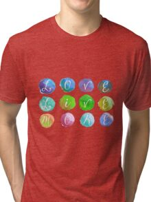 Hand-Painted Watercolor Circles Colorful Rainbow Tri-blend T-Shirt