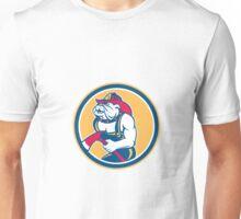 Bulldog Fireman With Axe Circle Retro Unisex T-Shirt
