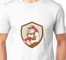 Bulldog Fireman With Axe Shield Retro Unisex T-Shirt
