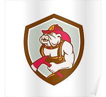 Bulldog Fireman With Axe Shield Retro Poster